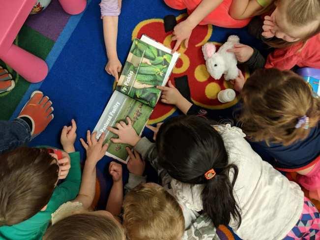 Children around the book